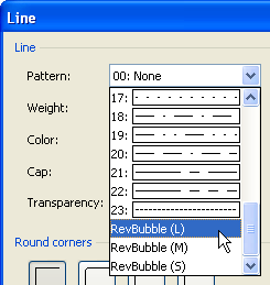 Bubble Patterns in Line Format Dialog