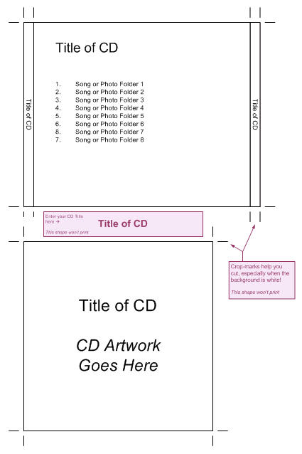 Cd jewel case template visio guy for Cd liner notes template word