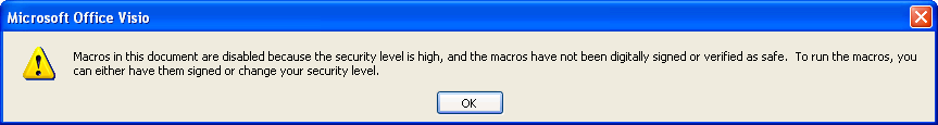 Visio 2003 High Security Dialog