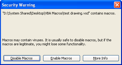 Visio 2003 Medium Security Dialog
