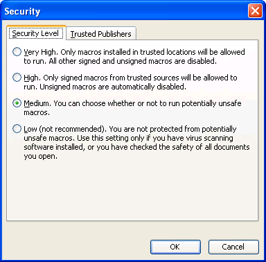 Visio 2003 Security Settings