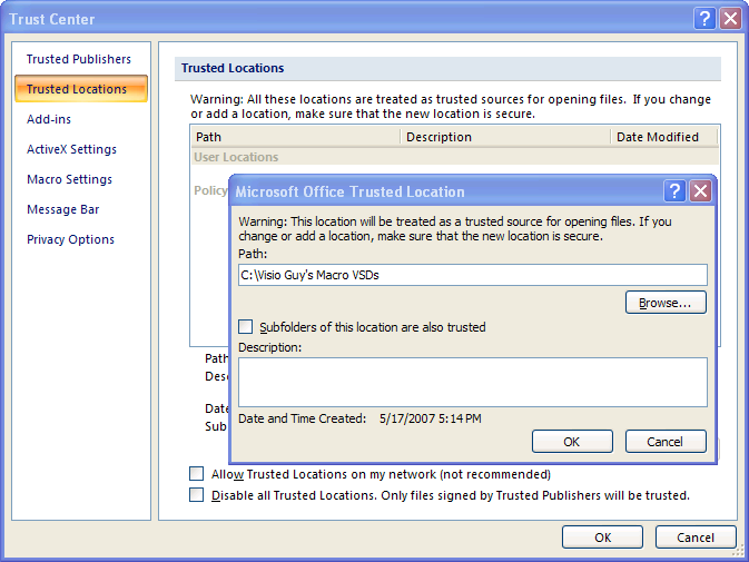 Visio 2007 Add Trusted Locations