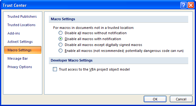 Visio 2007 Security Settings