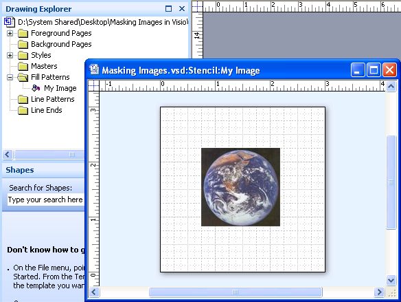 Paste an image into a custom Visio pattern