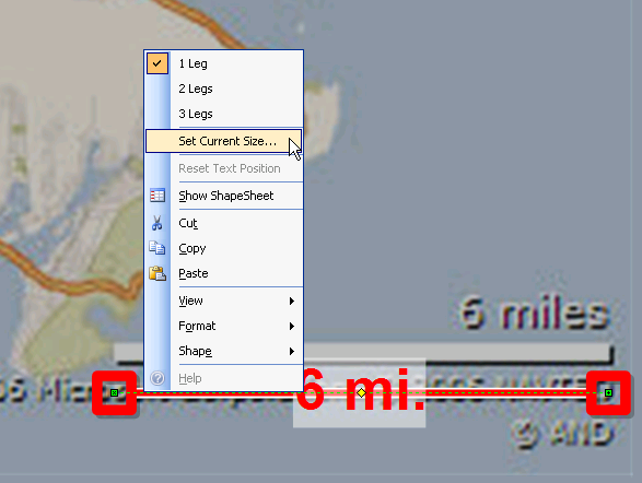 Set Current Size of Map Distance Dimension Line