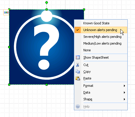 Right-mouse-click Context Menu interface for Visio Forefront Multi-shape