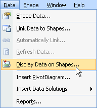 display data on shapes menu