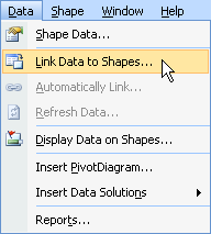 link data to shapes menu