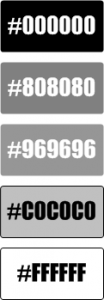 Image of gray Visio shapes displaying hexadecimal values for their colors