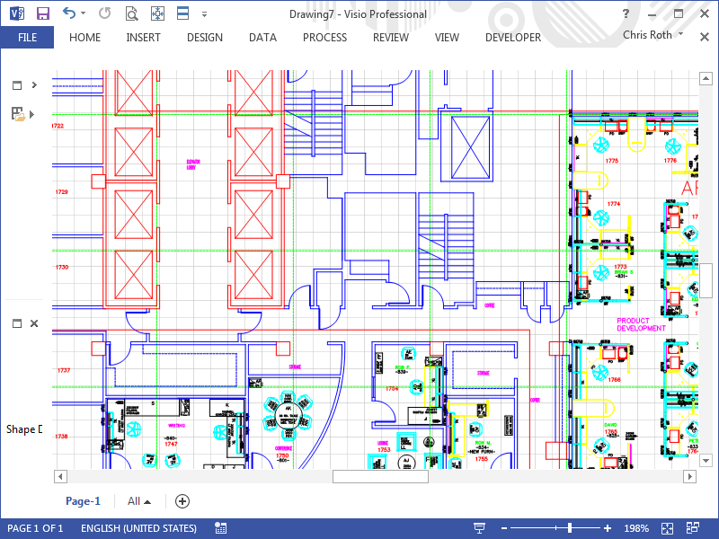 This CAD conversion of the old Visio Corp. offices at 520 Pike St. in downt