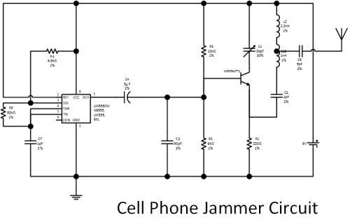 Cell phone jammer circuit project - phone jammer project igi