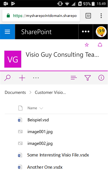 tapping beispielvsd brings up the visio online view of the document - View Visio Online